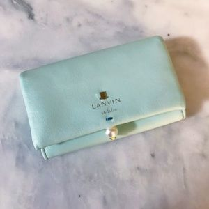 Auth. Lanvin Mint Blue Pearl Gusseted Card Wallet